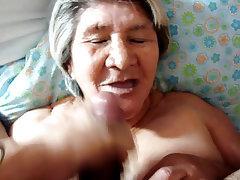 Granny blowjob facial