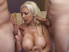 Huge boobs threesome blondes