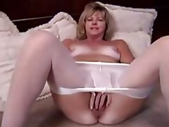 Dildo blonde milf masturbating with