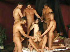 Small skinny girls gangbang with tits